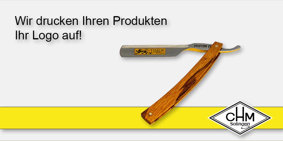 CHM Solingen - Wir drucken Ihren Produkten Ihr Logo auf!
